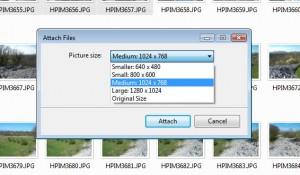 Pošiljanje pomanjšanih fotografij, 2. korak.
